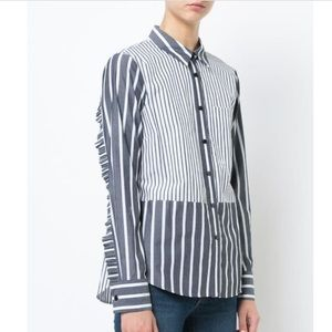 Derek Lam Midnight Stripe Ruffle Back Shirt